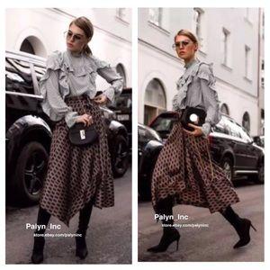 Zara geometric print wrap sarong skirt asymmetric